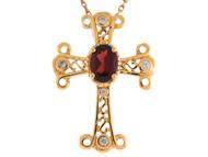 Colgante De Dama Estilo Cruz Con Perla De Agua Dulce Y Diamantes En Oro De 14k (OM#9565)