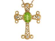 Colgante De Cruz Estilo Fleury Trebolada Con Peridoto Y Diamantes Reales En Oro 14k (OM#9565)