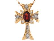 Colgante De Dama Estilo Cruz Con Perla De Agua Dulce Y Diamantes En Oro De 14k (OM#9566)