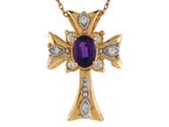 Colgante De Cruz Estilo Capital Pattee Con Amatista Y Diamantes Reales En Oro 14k (OM#9566)