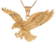 Colgante Diamantado Patriotico De Aguila Majestuosa En Pleno Vuelo En Oro (OM#9567)