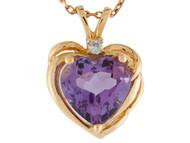 Colante De Dama Estilo Corazon Con Amatista Y Diamante Genuino En Oro 14k (OM#9573)