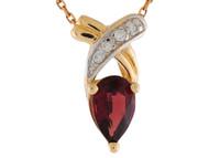 Colgante Flotante Con Granate Y Diamantes Genuinos En Oro 14k De Dos Tonos (OM#9574)