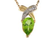 Colgante Deslumbrante Flotante Para Dama Con Peridoto Y Diamantes Reales En Oro 14k (OM#9574)