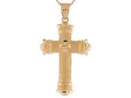 Colgante Diamantado De Cruz Latina Potente 4cm De Largo En Oro De Dos Tonos (OM#9586)