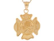 Colgante Con Diseno De Escudo Diseno Distintivo De Bombero En Oro De (OM#9587)
