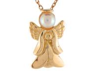 Colgante Adorable De Angel Acentuado Con Perla De Agua Dulce En Oro De (OM#9603)