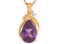 Colgante Flotante Estilo Lagrima Con Amatista Y Diamante Genuino En Oro De (OM#9607)