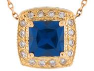 Colgante Flotante De Dama Con Zafiro Azul Simulado Y Circonita En Oro (OM#9851)