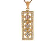 Colgante De Dama Rectangular Elegante Con Acentos De Circonita En Oro De (OM#9855)