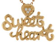Colgante Para Dama De Frase Sweet Heart Y Acentos De Diamante Genuino En Oro (OM#9867)