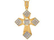 Colgante De Cruz Con Acentos De Circonita Blanca Alto Brillo En Oro Amarillo (OM#9872)