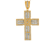 Colgante De Cruz Latina Con Circonita Baguette Y Redonda En Oro Amarillo De (OM#9873)