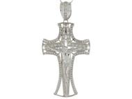 Colgante De Crucifijo Pattee Con Acentos De Circonita Blanca En Oro Blanco (OM#9875)
