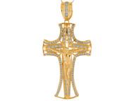 Colgante De Crucifijo Pattee Con Acentos De Circonita Blanca En Oro Amarillo (OM#9875)