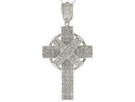 Colgante Religioso De Cruz Celta Con Acentos Circonita Blanca En Oro Blanco (OM#9876)