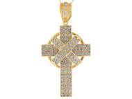 Colgante Religioso De Cruz Celta Con Acentos Circonita Blanca En Oro Amarillo (OM#9876)