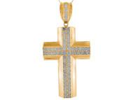 Colgante De Cruz Latina De Alto Brillo Con Circonita Blanca En Oro Amarillo De (OM#9888)