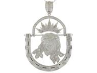 Colgante De Cara De Jesus Enmarcada Con Movimiento Y Circonita En Oro Blanco (OM#9890)