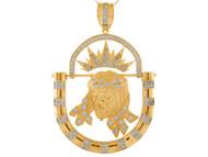 Colgante De Cara De Jesus Enmarcada Con Movimiento Y Circonita En Oro Amarillo (OM#9890)