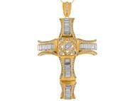 Colgante De Cruz En Segmentos Y Secciones Con Circonita En Oro Amarillo De (OM#9891)