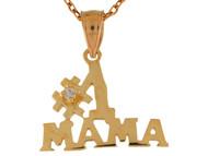 Colgante Con Frase Numero Uno Mama De Alto Brillo Con Circonita En Oro De (OM#9894)
