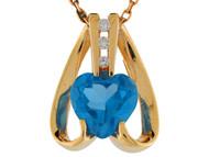 Colgante De Dama De Corazon Moderno Curvado Con Circon Azul Simulado En Oro (OM#9896)