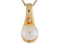 Colgante De Dama Moderno Simple Con Perla De Agua Dulce Y Diamantes En Oro (OM#9932)