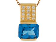 Colgante De Dama Maravilloso Con Circon Azul Simulado Y Circonita En Oro (OM#9934)