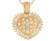 Colgante De Dama Estilo Corazon De Lujo Con Circonita Blanca Radiante En Oro (OM#9937)