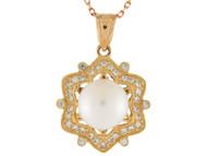 Colgante Elegante De Dama Forma De Estrella Con Perla De Agua Dulce En Oro (OM#9938)