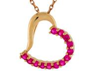 Colgante Colgante De Dama Inclinado De Corazon Con Rubies Reales En Oro De (OM#9940)