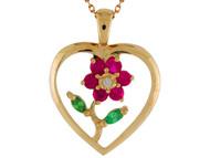Colgante De Dama De Corazon Con Flor Acentuada Con Rubies Simulados En Oro (OM#9942)