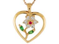 Colgante Para Dama De Corazon Con Flor Acentuada Con Circonita Blanca En Oro (OM#9942)
