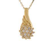 Colgante Deslizante De Dama Con Racimo De Circonita Blanca En Oro De (OM#9943)