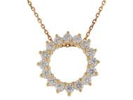 Colgante De Dama Con Aureaola De Circonita Blanca Brillante En Oro De (OM#9946)