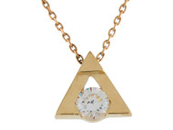 Colgante Deslizante Moderno En Forma De Triangulo Con Circonita En Oro De (OM#9947)