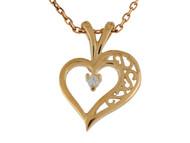 Colgante De Dama Esilo Filigrana De Corzon Con Diamante Real En Oro (OM#9948)