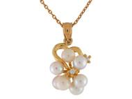 Colgante De Corazon Con Racimo De Perlas De Agua Dulce Y Diamantes En Oro De (OM#9955)