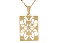 Colgante De Dama Estilo Filigrana Forma De Rectangulo Con Circonita En Oro (OM#9956)