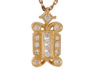 Colgante Elegante Antiguo Para Mujer Con Circonita Blanca En Oro De (OM#9980)