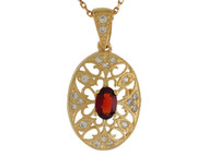 Colgante Antiguo De Dama Filigrana Con Granate Y Diamantes Reales En Oro De (OM#9982)