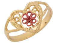Anillo Diamantado Para Dama Con Diseno De Corazon Y Flor En Oro Amarillo De (OM#10046)