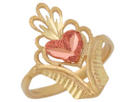 Anillo Diamantado Unico De Dama Con Corazon Estilo Filigrana En Oro 2 Tonos (OM#10049)