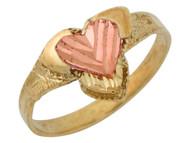 Anillo De Dama Hermoso De Corazon Diamantado En Oro De Dos Tonos De (OM#10053)