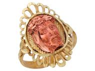 Anillo Religioso Diamantado De Imajen De Jesus En Oro De Dos Tonos (OM#10057)