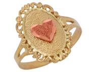 Anillo Diamantado En Forma De Ovalo Estilo Corazon Con En Oro De Dos Tonos (OM#10059)