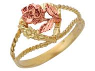 Anillo Diamantado De Dama Con Corazon Y Rosa En Oro De 2 Tonos De (OM#10061)