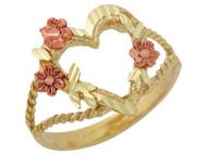 Anillo Diamantado De Dama Con Corazon Y Flores En Oro De 2 Tonos De (OM#10062)