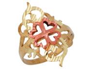 Anillo Diamantado Para Dama Con Corazones Lindos En Oro De Dos Tonos De (OM#10072)